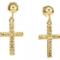 Cross Ball Dangle Earring in 14k Yellow Gold