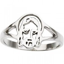Face Of Jesus Chastity Ring in 14k White Gold