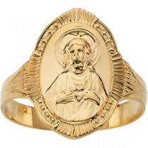 Sacred Heart Ring in 14k Yellow Gold