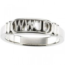 What Would Jesus Do Ring in 14k White Gold