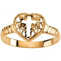 Cross Heart Ring in 14k Yellow Gold