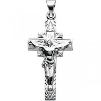 Crucifix Pendant in 14k White Gold