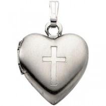 Heart Cross Locket in Sterling Silver