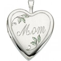 Mom Color Locket in Sterling Silver