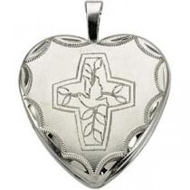 Cross Dove Locket in Sterling Silver
