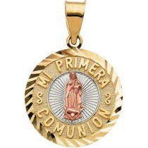 Mi Primera Communion Medal in 14k Yellow Gold