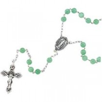 Green Jade Rosary in Sterling Silver