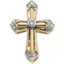 Diamond Unity Cross in 14k Yellow Gold
