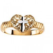 Heart Cross Ring in 14k Two-tone Gold