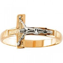 Crucifix Ring in 14k Two-tone Gold