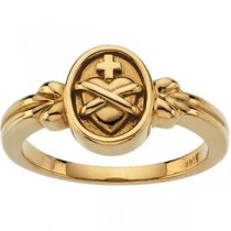 Heart Cross Ring in 14k Yellow Gold