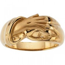 Hand Of Christ Ring in 14k Yellow Gold