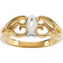 Fish Ring in 14k Two-tone Gold