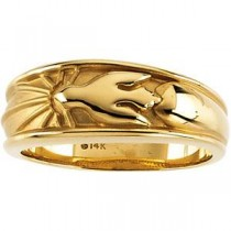 Cross Band in 10k Yellow Gold