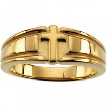Cross Duo Band in 10k Yellow Gold