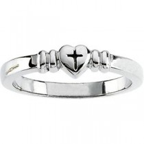 Heart Cross Ring in 14k White Gold