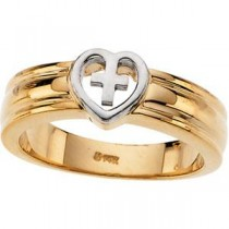 Heart Cross Band in 10k Two-tone Gold