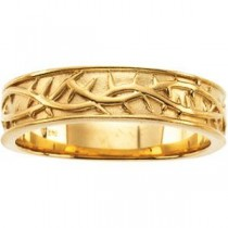 Thorn Design Band in 14k Yellow Gold
