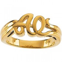 Alpha Omega Ring in 10k Yellow Gold