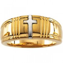 Cross Band in 10k Two-tone Gold