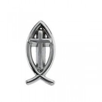Ichthus Cross Lapel Pin in 14k White Gold
