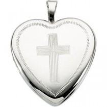 Cross Heart Locket in 14k Yellow Gold