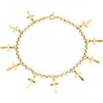 Cross Bracelet in 14k Yellow Gold