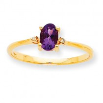 Diamond  Amethyst Birthstone Ring