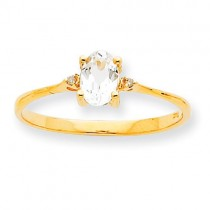 Diamond White Topaz Birthstone Ring