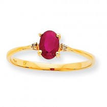 Diamond Ruby Birthstone Ring