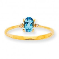 Diamond Blue Topaz Birthstone Ring