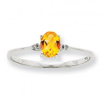 Diamond Citrine Birthstone Ring