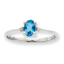 Diamond/Blue Topaz Birthstone Ring