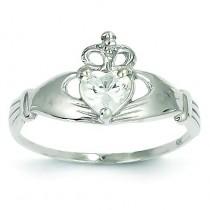 April Birthstone Claddagh Heart Ring