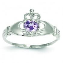 June Birthstone Claddagh Heart Ring