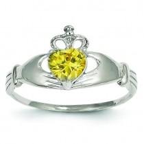 November Birthstone Claddagh Heart Ring
