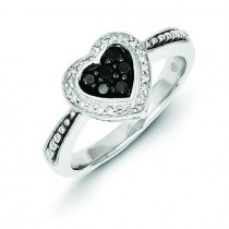 Black White Diamond Heart Ring