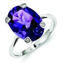 Rhodium Amethyst Diamond Ring