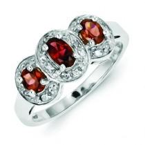 Rhodium Garnet Diamond Ring