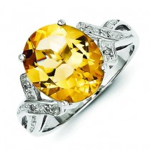 Rhodium Citrine Diamond Ring