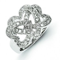 Zirconia Intertwined Hearts Ring