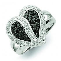 Antiqued Black Clear Zirconia Heart Ring