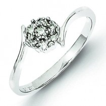 Rhodium Diamond Flower Ring