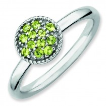 Peridot Rhodium Ring