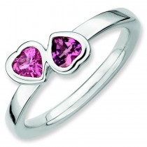 Pink Tourmaline Double Heart Ring