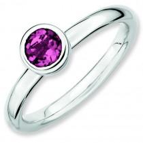 Low 5mm Round Pink Tourmaline Ring