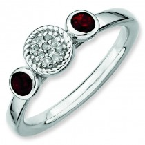 Round Garnet Diamond Ring