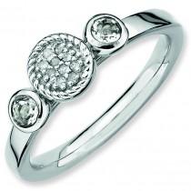 Round White Topaz Diamond Ring