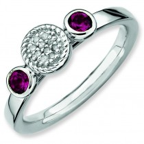 Rhodium Garnet Diamond Ring