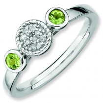 Round Peridot Diamond Ring